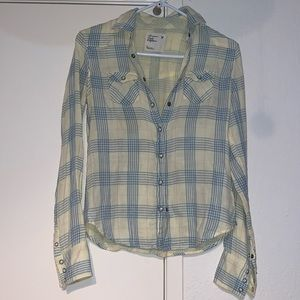 Yellow American Eagle Button-up Plaid 2